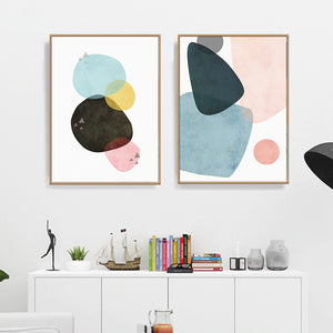Colorful Abstract Nordic Wall Art Curvy Geometry Landscape Subtle Color Schemes Fine Art Canvas Prints For Modern Home Office Interior Decor