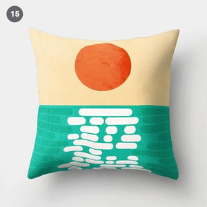 Colorful Nordic Style Sunrise Moon & Mountain Floral Landscape Abstract Patterned Retro Geometric Cushion Cover Sofa Pillow Case 45x45cm