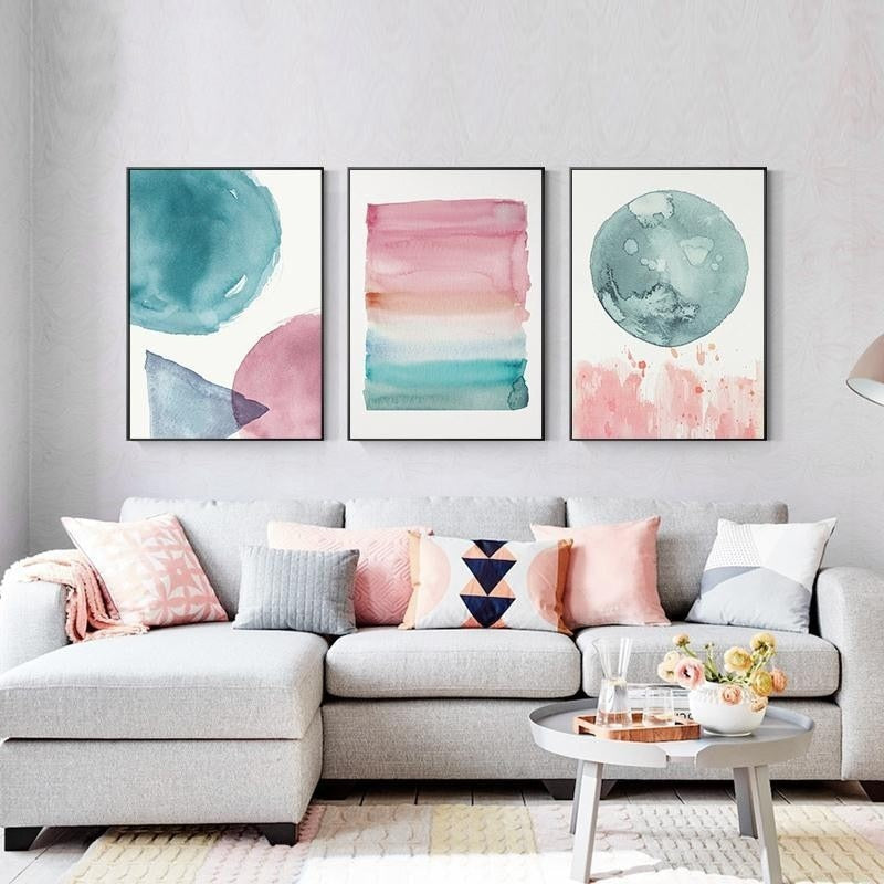 Colorful Warm Cosy Bedroom Wall Art Shades Of Pink Blue