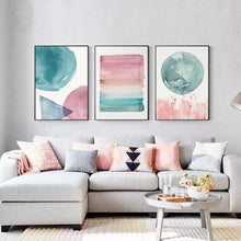 Load image into Gallery viewer, Colorful Warm Cosy Bedroom Wall Art Shades Of Pink Blue Jade Modern Nordic Canvas Prints Pastel Paintings For Bedrooms Hotel Interior Decor