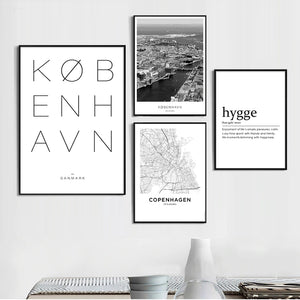 Copenhagen City Gallery Wall Art Fine Art Canvas Prints Nordic Minimalist Black White City Map Posters For Living Room Scandinavian Home Office Decor