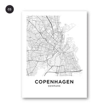 Load image into Gallery viewer, Copenhagen City Gallery Wall Art Fine Art Canvas Prints Nordic Minimalist Black White City Map Posters For Living Room Scandinavian Home Office Decor