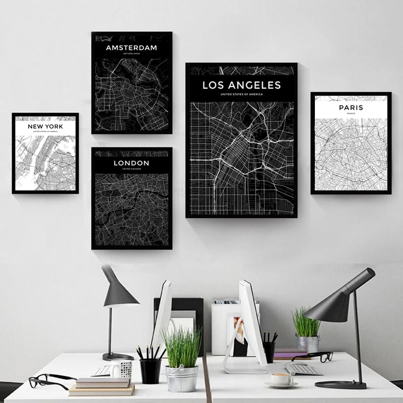 Customized City Map Poster For Your Town Or City Modern Minimalist Black & White Canvas Print Wall Maps Ideal For Home Office Interior Wall Art Decor