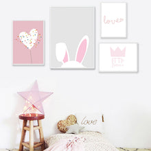 Load image into Gallery viewer, Cute Pink Rabbit Ears Wall Art Little Princess Love Quote Posters For Girls Bedroom Fine Art Canvas Prints Nordic Style Pictures For Kids Room Baby Room Decor