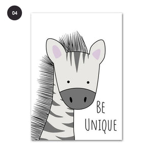 Cute Animals Nursery Wall Art Zebra Hippo Giraffe Lion Monkey Crocodile Posters Fine Art Canvas Prints For Kid's Bedroom Wall Decor