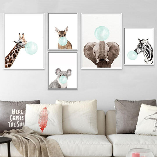 Cute Baby Animals Blowing Blue Bubblegum Giraffe Elephant Koala Nursery Wall Art Fine Art Canvas Prints Nordic Style Decor For Kid Room