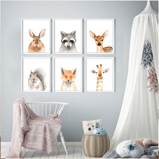 Cute Baby Animals Nordic Woodland Nature Nursery Wall Art Fine Art Canvas Prints Pictures For Kids Room Modern Home Interior Decorating