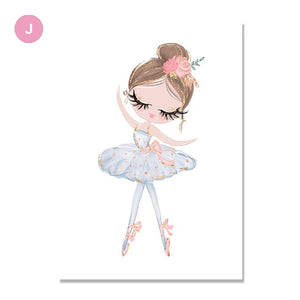 Cute Ballet Dancing Princess Nursery Wall Art Pink Unicorn Swan Princess Girl's Room Posters Nordic Style Modern Pictures For Kids Room Bedroom Decor
