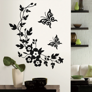 Cute Butterflies And Flowers Wall Art Mural Removable PVC Wall Decal For Kitchen Living Room Bedroom Wall Kids Room DIY Home Decor