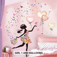 Load image into Gallery viewer, Cute Fairy Girl Butterflies And Balloons Wall Mural PVC Decals Nordic Style Creative DIY Removable Wall Sticks For Girls Bedroom Pretty Nursery Room Decor