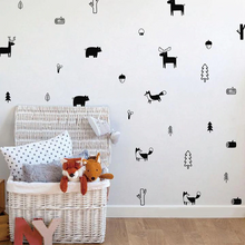 Load image into Gallery viewer, Cute Nordic Forest Animal Wall Decals Nursery Wall Decor Bear Fox Reindeer Woodland Characters Kids Room Modern Wall Decor Vinyl Art Wall Stickers