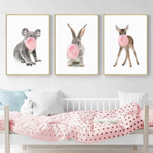 Load image into Gallery viewer, Cute Woodland Animals Blowing Pink Bubblegum Nursery Wall Art Fine Art Canvas Prints Delightful Pictures For Children's Room Girls Room Decor