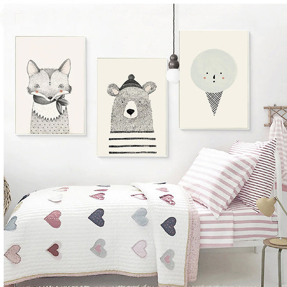 Cute Woodland Animals Nursery Wall Art Fox Bear And Ice Cream Characters Fine Art Canvas Prints Nordic Pictures For Children's Bedroom Decor