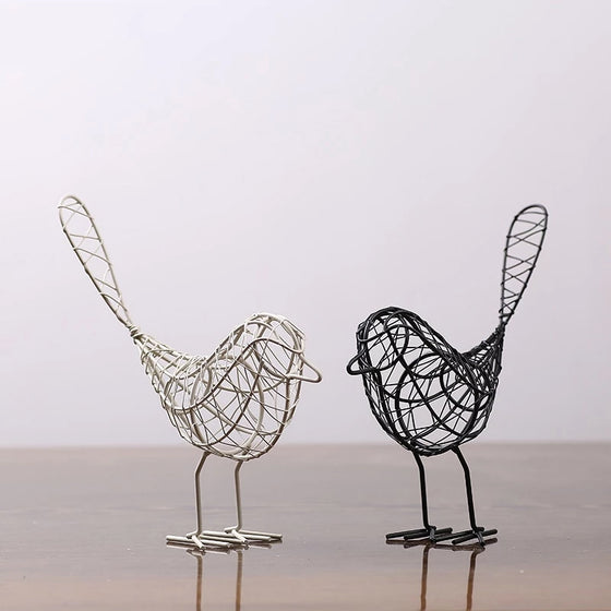 Delightful Abstract Geometric Wire Mesh Birds Sculptures Vintage Animal Miniature Figurines Nordic Home Decoration Accessories Black or White