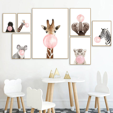 Delightful Furry Animals Blowing Pink Bubblegum Bubbles Cute Nursery Wall Art Canvas Poster Modern Prints For Nursery Kids Room Home Decor