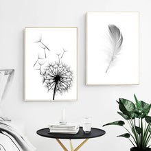 Load image into Gallery viewer, Delightful Minimalist Dandelion And Feather Wall Art Fine Art Canvas Prints Black And White Nordic Style Pictures Modern Scandinavian Interior Decor