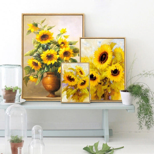Delightful Sunflower Paintings Modern Floral Wall Art Yellow Flowers Fine Art Canvas Prints Pictures For Living Room Nordic Style Interior Decor