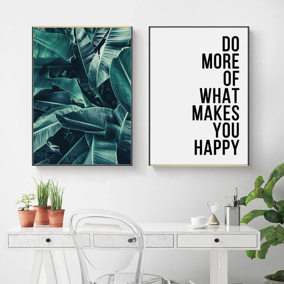 Do More Of What Makes You Happy Inspirational Quotation Green Leaves Nordic Style Wall Art Fine Art Canvas Prints For Modern Home Decor
