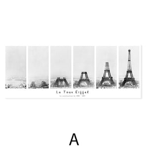 Eiffel Tower Construction Modern Abstract Black White Wall Art Fine Art Canvas Print Wide Format Architectural Posters For Office Living Room Home Decor