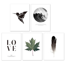 Load image into Gallery viewer, Elements Of Nature Black White Gallery Wall Art Fine Art Canvas Prints Minimalist Inspirational Nordic Style Pictures For Modern Living Room Home Decor