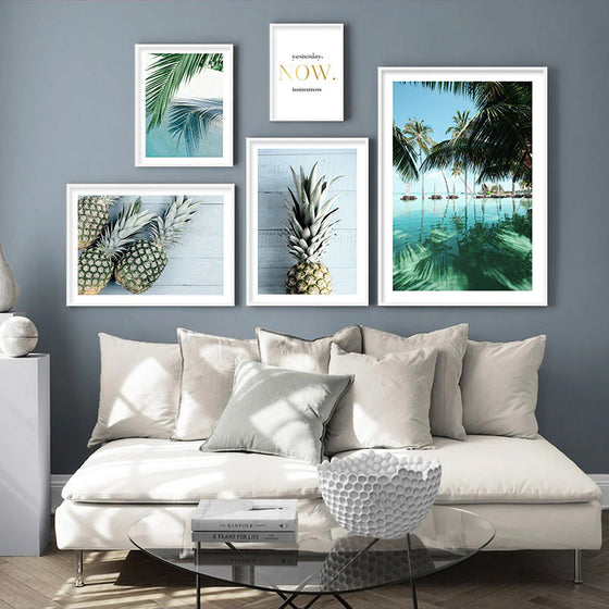 Exotic Tropical Dreams Travel Posters Pineapple & Palms Holiday Dreams Gallery Wall Art Fine Art Canvas Prints Pictures Nordic Style Home Decor