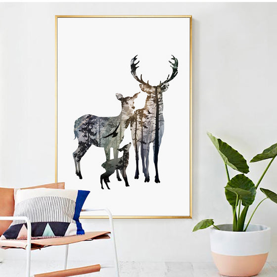 Family Of Deer In Forest Silhouette Wall Art Nordic Style Woodland Animals Fine Art Canvas Prints Scandinavian Style Home Interior Decor