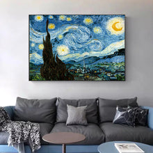 Load image into Gallery viewer, Famous Artists Vincent Van Gogh Wall Art The Starry Night Poster Fine Art Canvas Giclee Print Paintings For Living Room Home Decor