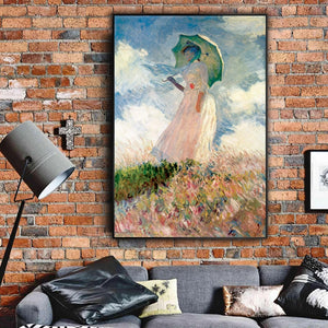 Famous Paintings Claud Monet Woman with a Parasol Fine Art Canvas Giclee Print Classic Colorful Impressionism Summer Portrait Art Decor