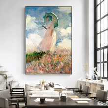 Load image into Gallery viewer, Famous Paintings Claud Monet Woman with a Parasol Fine Art Canvas Giclee Print Classic Colorful Impressionism Summer Portrait Art Decor