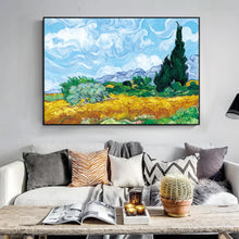 Load image into Gallery viewer, Famous Paintings Vincent Van Gogh Wheatfield With Cypress Tree Fine Art Canvas Print Classic Post-Impressionism Landscape Wall Art Decor