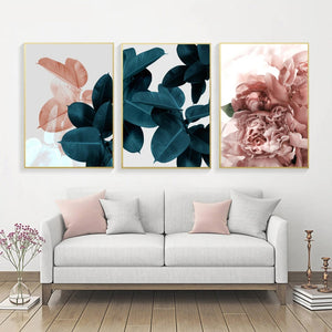 Fashion Floral Posters Pink Rose Green Leaves Wall Art Fine Art Canvas Prints Stylish Salon Art Pictures For Modern Living Room Bedroom Glam Home Decor