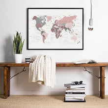 Load image into Gallery viewer, Global Destination World Map Wall Art Fine Art Canvas Prints Subtle Shades Subdued Colors Modern Travel Poster For Business Office Home Interior Wall Decor