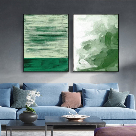 Going Green Abstract Nordic Watercolor Wall Art Minimalist Fine Art Canvas Prints Bright Colorful Paintings For Modern Home Interior Decor