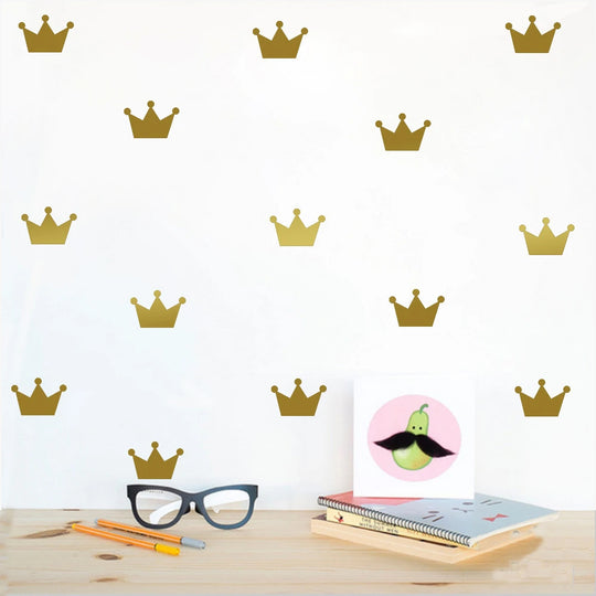 Gold Crown Wall Decals For Boys Room or Girls Room Wall Decor Multiple Colors Removable PVC Wall Stickers For Modern Kid's Room DIY Decor