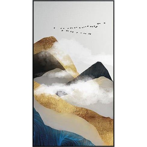 Gold Mountains In The Clouds Abstract Wall Art Posters Fine Art Canvas Prints For Modern Office Or Apartment Pictures For Living Room Decor