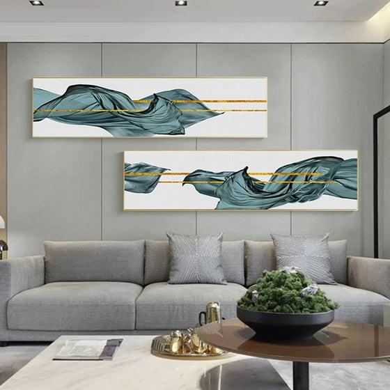 Go With The Flow Wide Format Abstract Wall Art Golden Lines Green Jade Silk Modern Luxury Lifestyle Pictures For Home Office Loft Wall Art Decor