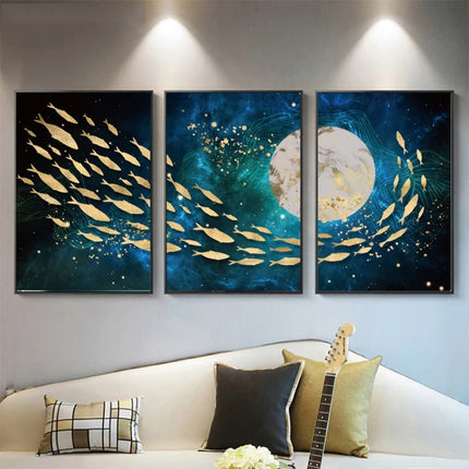 Auspicious Golden Fish Abstract Wall Art Fine Art Canvas Prints Aquatic Blue Sea Marine Pictures For Living Room Dining Room Home Loft Office Interior Decor