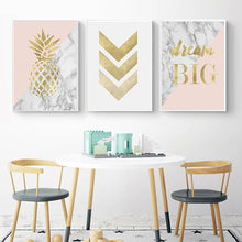 Load image into Gallery viewer, Golden Pineapple Dream Big Wall Art Pink Golden Gray Marble Fine Art Canvas Prints Minimalist Nordic Inspirational Quotes Pictures For Modern Home Decor