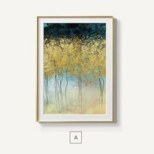 Load image into Gallery viewer, Gorgeous Golden Leaf Trees Wall Art Lucky Gold Trees Fine Art Canvas Prints Contemporary Nordic Art For Modern Living Room Wall Decor