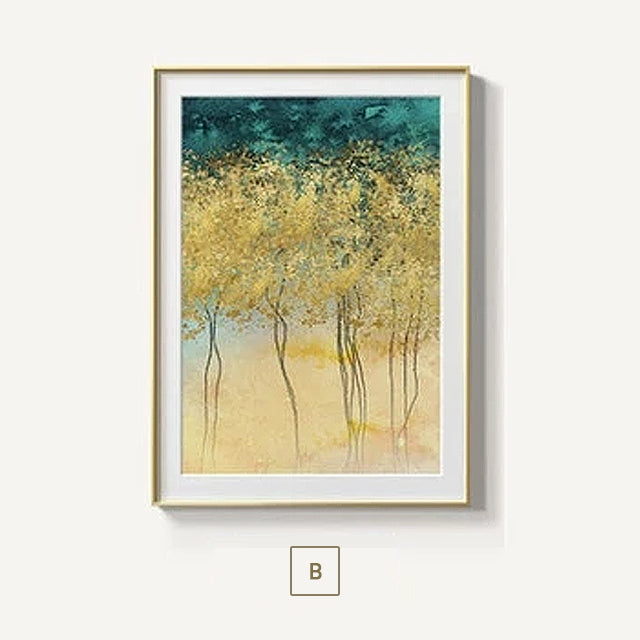 Gorgeous Golden Leaf Trees Wall Art Lucky Gold Trees Fine