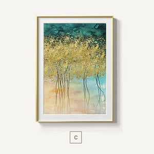 Gorgeous Golden Leaf Trees Wall Art Lucky Gold Trees Fine Art Canvas Prints Contemporary Nordic Art For Modern Living Room Wall Decor