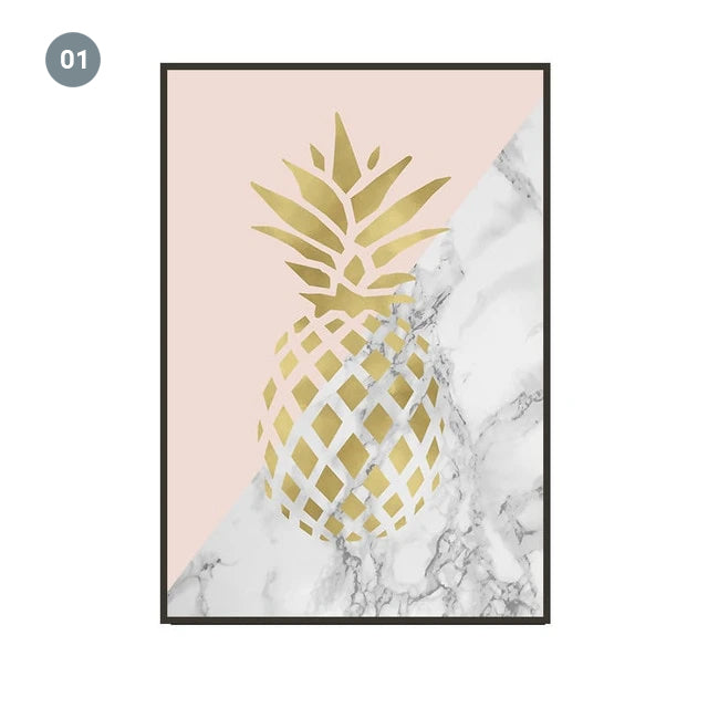 Golden Pineapple Dream Big Wall Art Pink Golden Gray Marble Fine Art Canvas Prints Minimalist Nordic Inspirational Quotes Pictures For Modern Home Decor