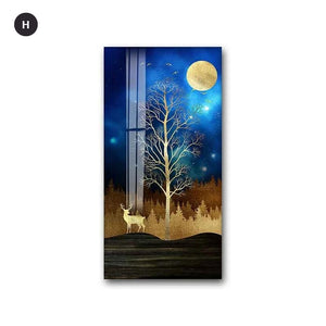 Golden Tree By Night Nordic Style Modern Wall Art Fine Art Canvas Prints Skyscraper Format Posters Modern Pictures For Luxury Loft Home Office Interior Decor