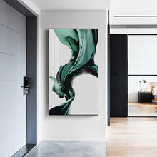 Load image into Gallery viewer, Green Flowing Silk Minimalist Nordic Abstract Wall Art Fine Art Canvas Print Luxury Lifestyle Picture For Modern Living Room Bedroom Home Interior Decor