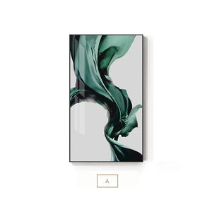 Green Flowing Silk Minimalist Nordic Abstract Wall Art Fine Art Canvas Print Luxury Lifestyle Picture For Modern Living Room Bedroom Home Interior Decor