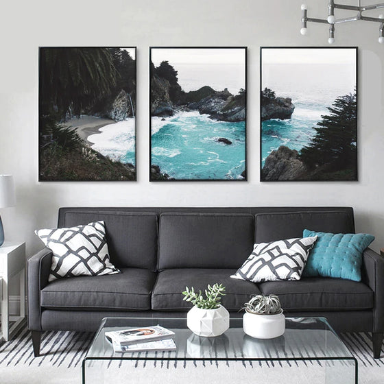 Hidden Cove Tropical Coastal Landscape Wall Art Fine Art Canvas Prints Beachscape Nordic Style Seascape Pictures For Office Living Room Decor