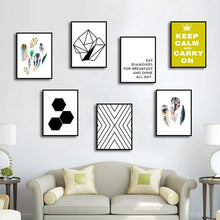 Load image into Gallery viewer, Keep Calm And Carry On Poster Wall Art Nordic Style Feathers Geometric Abstract Pictures Fine Art Canvas Prints Minimalist Scandinavian Wall Art Decor