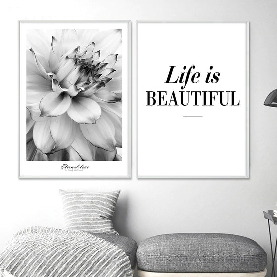 Life Is Beautiful Modern Black & White Floral Wall Art Fine Art Canvas Prints Minimalist Quotation Nordic Style Pictures For Modern Home Decor