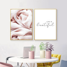 Load image into Gallery viewer, Life Is Beautiful Pink Abstract Wall Art Nordic Minimalist Quotation Fine Art Canvas Prints Modern Pictures For Living Room Bedroom Decor