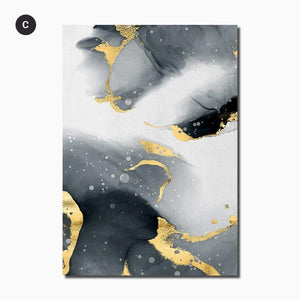 Liquid Golden Black Marble Modern Interiors Wall Art Fine Art Canvas Prints Luxury Pictures For Living Room Bedroom Contemporary Home Office Decoration